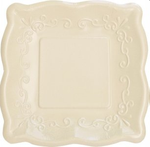 Elise Ivory with Embossed Design Large Paper Plates 8/pcs