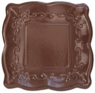 Elise Brown with Embossed Design Large Paper Plates 8/pcs