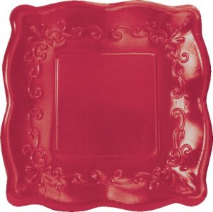 Elise Dark Red Embossed Design Small Paper Plates 8/pcs