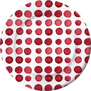 Elise Red Dots Small Paper Plates 8/pcs
