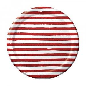 Elise Red Stripes Large Paper Plates 8/pcs