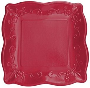Elise Dark Red with Embossed Design Large Paper Plates 8/pcs