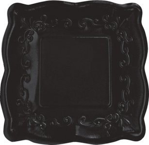 Elise Black Embossed Design Small Paper Plates 8/pcs