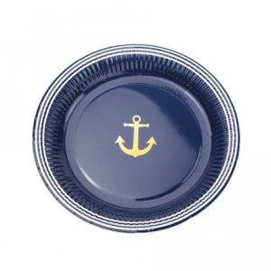 Gold Navy Large Paper Plates 8/pcs