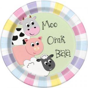 Pastel Farm Animals Large Paper Plates 8/pcs