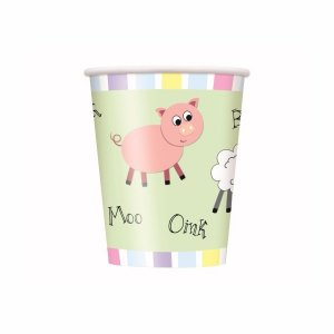 Pastel Farm Animals Paper Cups 8/pcs