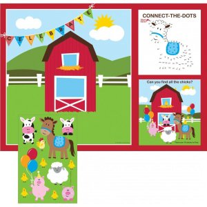Farmhouse Activity Placemats with Stickers 8/pcs