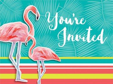 Flamingo Party invitations 8/pcs