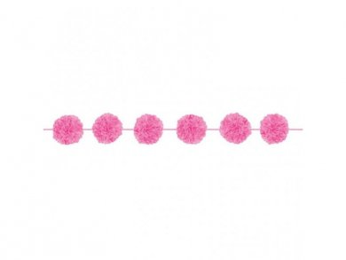 Hot Pink Fabric Pom Pom Garland (2,13m)