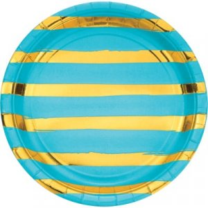 Bermuda Blue Large Paper Plates with Gold Foiled Abstract Lines 8/pcs