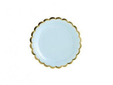 Pale Blue Small Paper Plates with Gold Edge (6pcs)