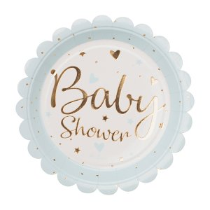 Pale Blue with Gold Foiled Baby shower Small Paper Plates (8pcs)