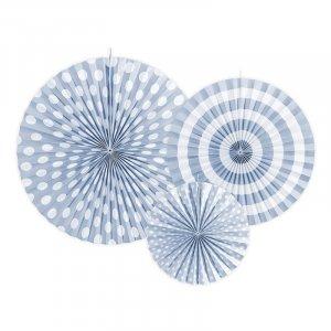 Γαλάζιες Διακοσμητικές Βεντάλιες 3τμχ
