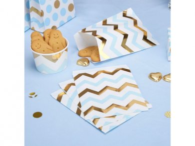 Gold and Blue Chevron Treat Bags (25pcs)