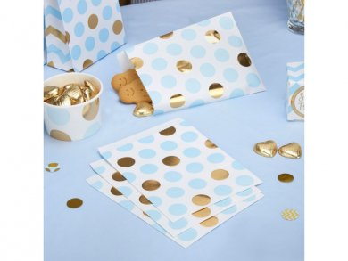 Gold and Blue Dots Paper Treat Bags (25pcs)
