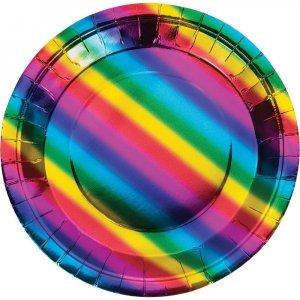 Rainbow Birthday Large Paper Plates 8/pcs
