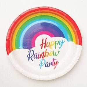 Rainbow Birthday Small Paper Plates 8/pcs
