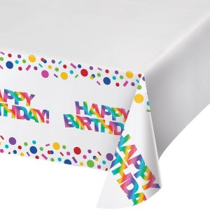 Rainbow Birthday Plastic Tablecover