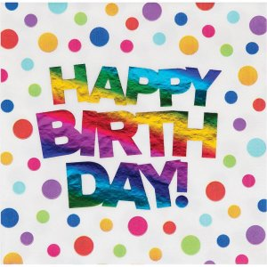 Rainbow Birthday Luncheon Napkins 16/pcs