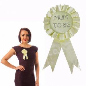 Yellow Mum To Be Badge Rosette with Diamante