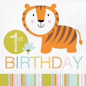 Χαρούμενα Ζωάκια Της Ζούγκλας Χαρτοπετσέτες Για Πρώτα Γενέθλια (16τμχ)