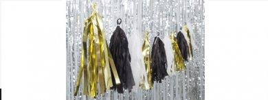 Black-White-Gold Tassel garland