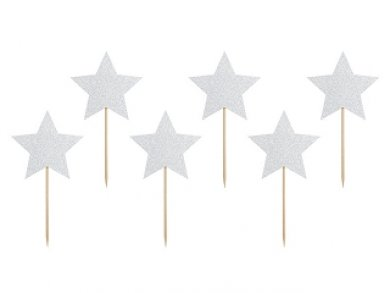 Glitter Silver Stars Decorative Picks 6/pcs
