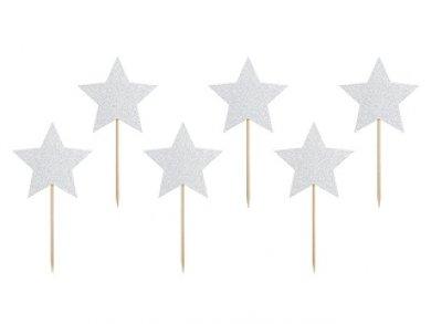 Γκλίτερ Ασημί Αστέρια Διακοσμητικές Οδοντογλυφίδες (6τμχ)