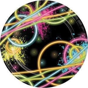 Glow Party Μικρά Χάρτινα Πιάτα 8/Τμχ
