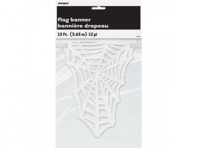 White flag banner with spider web design 3,65m