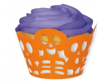 Halloween πορτοκαλί διακοσμητικά περιτυλίγματα για cupcakes 12/τμχ