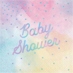 Iridescent Baby Shower Luncheon Napkins in Pastel Colors 16/pcs