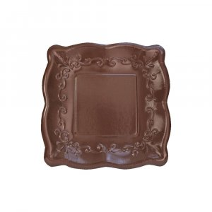 Elise Brown Embossed Design Small Paper Plates 8/pcs