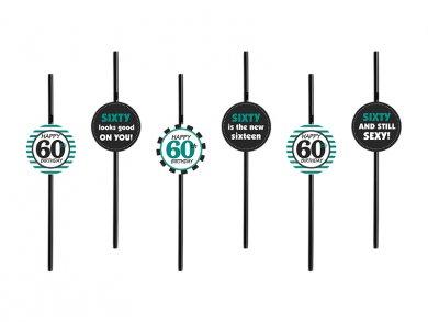 Plastic Straws for the 60th Birthday (6pcs)