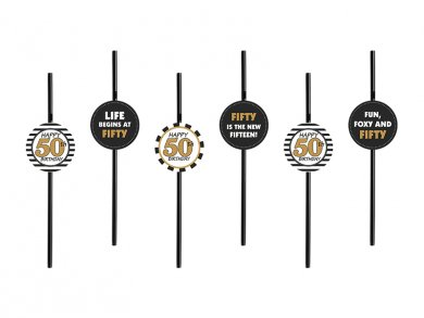 Plastic Straws for the 50th Birthday (6pcs)