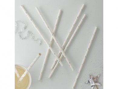 Silver Foiled Stars Paper Straws (25pcs)