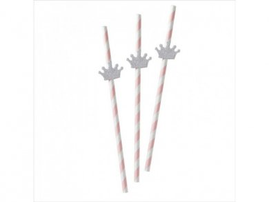 Princess Paper Straws with Silver Crowns 16pcs