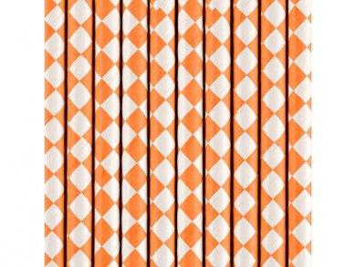 Καλαμάκια Χάρτινα Πορτοκαλί με Σχέδιο Διαμάντι (10τμχ)