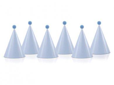 Pale blue party hats with Pom Poms (6pcs)