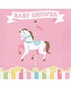 Καρουζέλ Baby Shower Χαρτοπετσέτες 16/Τμχ