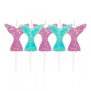 Mermaid Tails Glitter Cake Candles (5pcs)