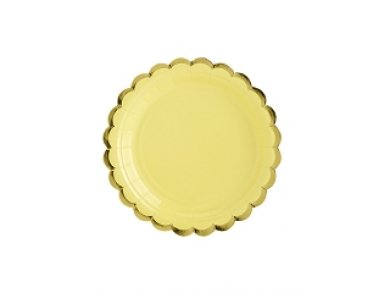 Yellow Small Paper Plates with Gold Edge 6/pcs