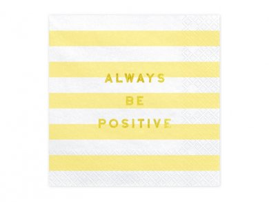 Yellow Stripes Luncheon Napkins with Gold Foiled Always Be Positive 20/pcs