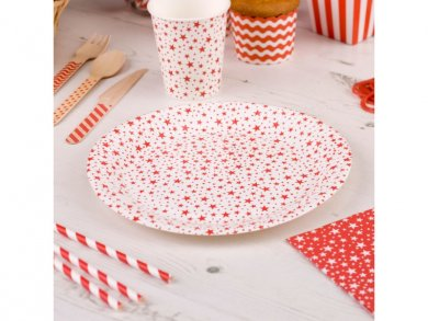 Red Stars Large Paper Plates (8pcs)