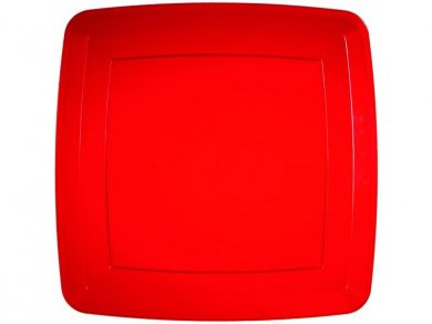 Red Large Square Plastic Plates (8pcs)