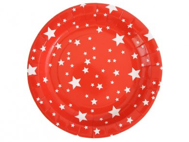 Red Paper Plates with Stars (10pcs)