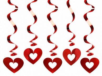 Red Hearts Swirl Decoration (5pcs)
