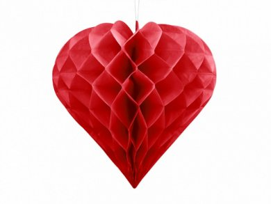 Red Honeycomb Heart Shaped Decoration (30cm)