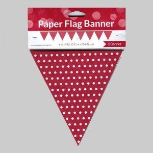 Γιρλάντα Σημαιάκια Κόκκινη Με Πουά