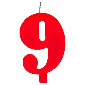 Κόκκινο Κερί Για Τούρτα Αριθμός 9